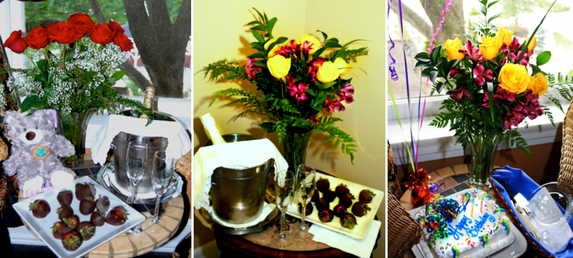 Montage showing three different add-on packages, including flower arrangements, chocolate covered strawberries, chilled champagne and a birthday cake