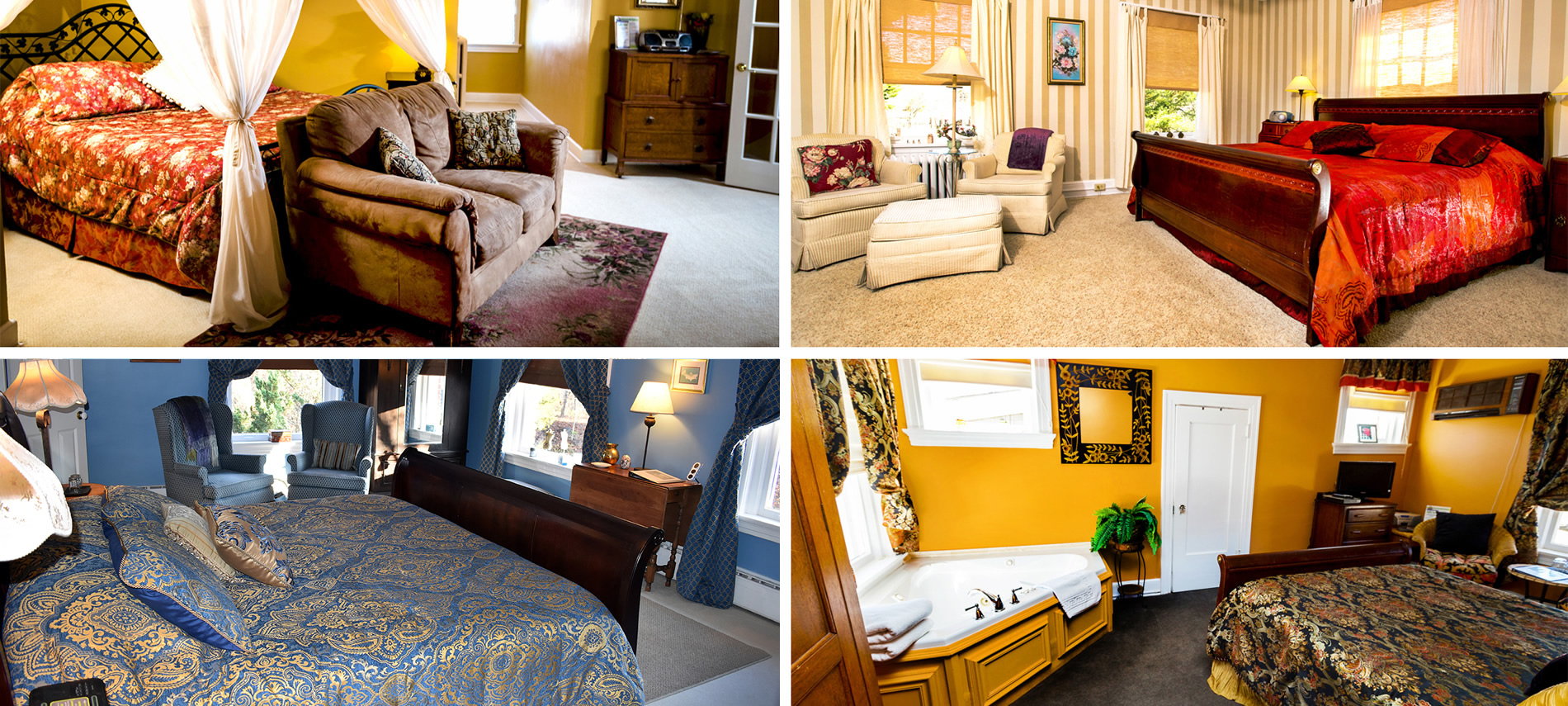 Montage of four different bedrooms