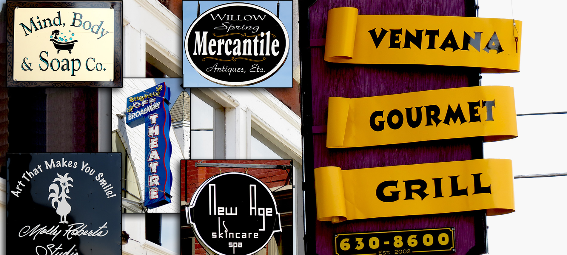 Montage of various business signs